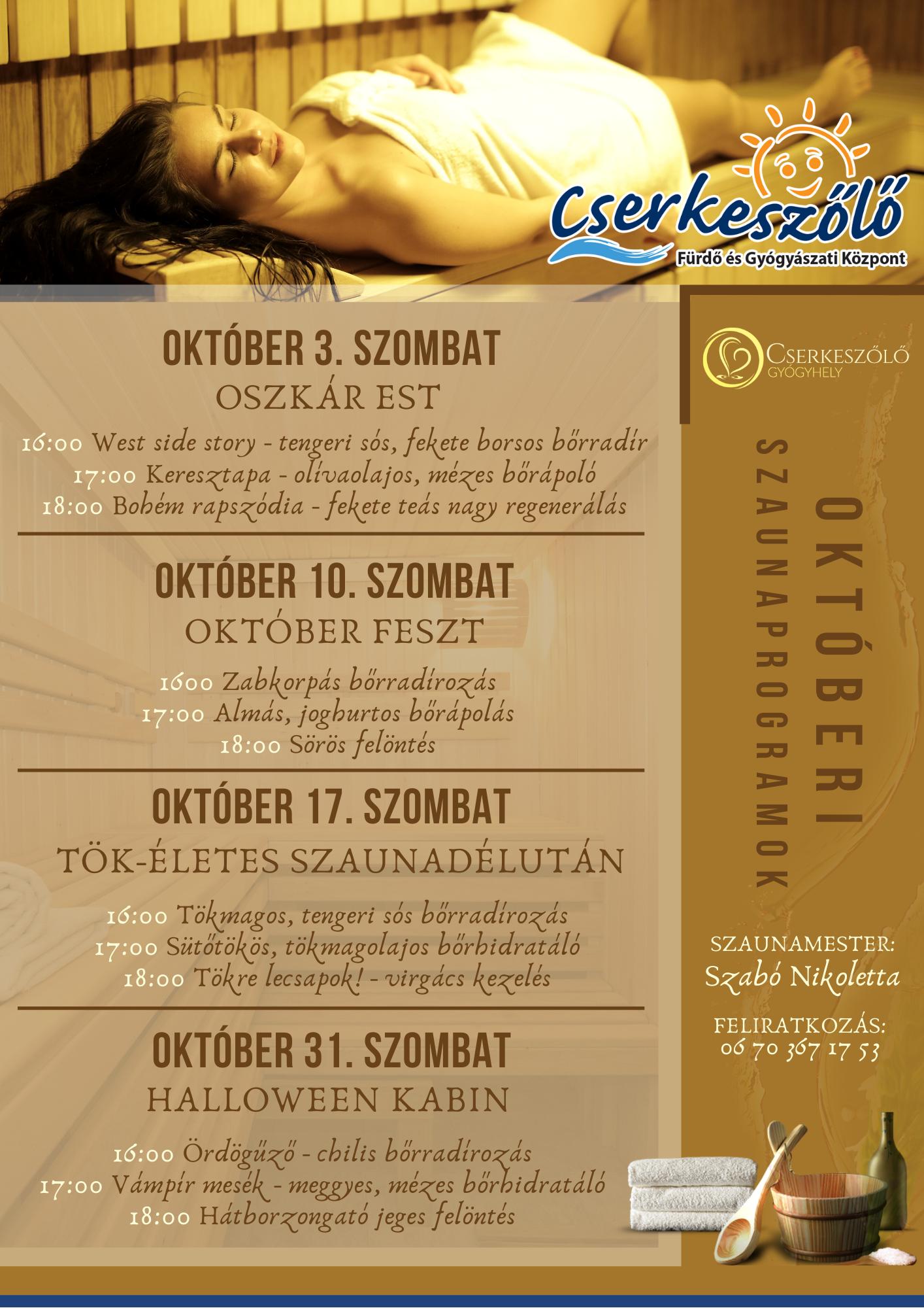 Októberi Szaunaprogramok